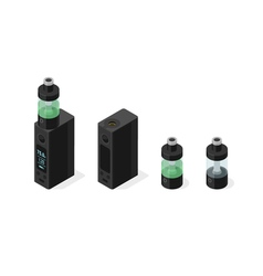 Isometric icon set of electronic cigarette and vector image vector image