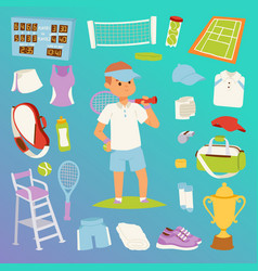 tennis man character and icons sport vector image