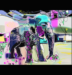 abstract memphis digital painting of indian vector image