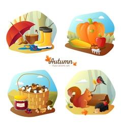 Autumn 4 Icons Square Set vector image