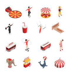 circus isometric icons set vector image