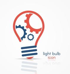 Light bulb idea icon with three gears vector