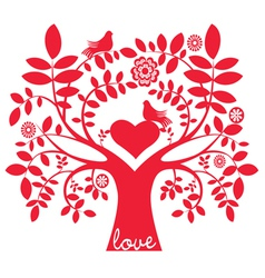 One color love message tree with birds vector