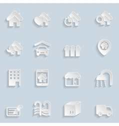 Paper Real Estate Icons vector image vector image