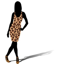 Woman silhouette in leopard skin dress vector image vector image