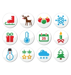 Christmas winter colorful icons set as round label vector image