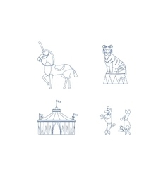 Circus line art icons vector image