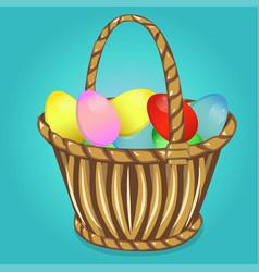easter basket with eggs happy easter vector image