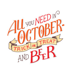 lettering quote about october lettering vector image vector image