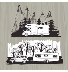 motor homes vans caravans mobile homes trailer vector image