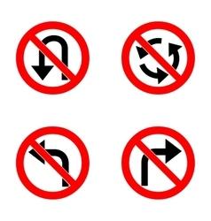 Set of variants a U-Turn forbidden - road sign vector image
