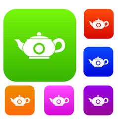 teapot set collection vector image
