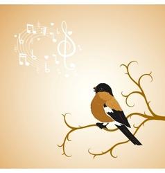 Winter bullfinch bird tweets on a tree branch vector image vector image
