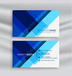 abstract blue geometric business card layout vector image