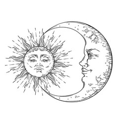 Antique hand drawn art sun and crescent moon vector