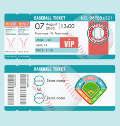 baseball ticket modern design baseball ball bat vector image
