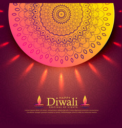 beautiful diwali celebration greeting with vector image