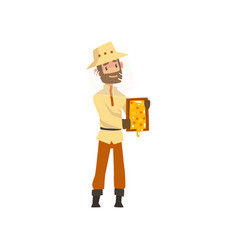beekeeper man with a honeycomb frame in his hands vector image