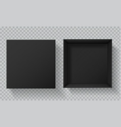 black box packaging top view open and closed gift vector image