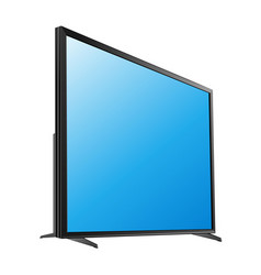 Black led tv television screen blank on white vector