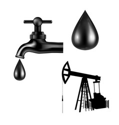 black tap with oil drop petroleum rig silhouette vector image