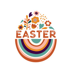 Boho easter concept design bunnies eggs flowers vector