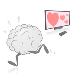 Brain running away from television vector