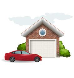 Brick garage and car vector