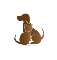 Brown cat and dog pet clinic icon vector