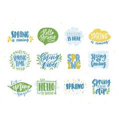 Bundle spring or springtime phrases or slogans vector