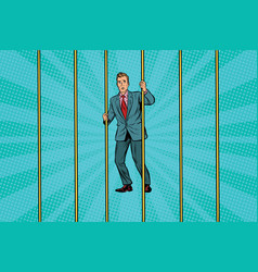 Businessman in prison for the bars vector