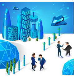 businessmen communicating in futuristic smart city vector image