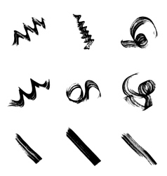 Collection of grungy hand-drawn spirals lines and vector