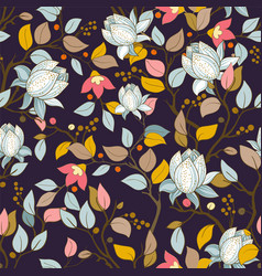 Colorful floral pattern wallpaper with big vector
