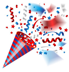 colorful party popper for independence usa vector image
