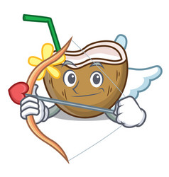 cupid cocktail coconut character cartoon vector image
