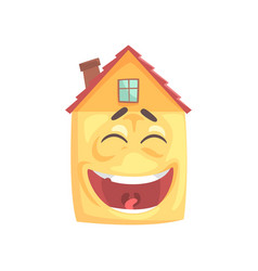 cute house character laughing funny facial vector image