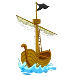 Cute pirate ship cartoon vector