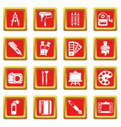 Design and drawing tools icons set red square vector