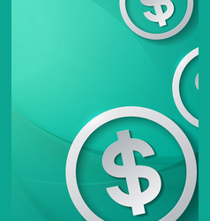 dollar signs on abstract cyan background vector image