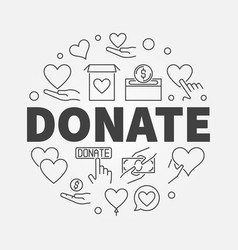 Donate circular in line style vector