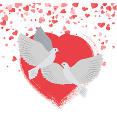 doves in love pigeons birds hearts valentines vector image
