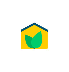 eco house icon flat element vector image