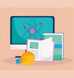 Education online computer books learning class vector