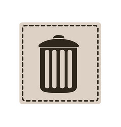 Emblem metal trash can icon vector