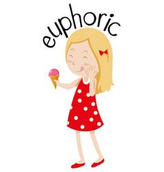 English vocabulary word euphoric vector