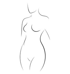 female figure outline young girl stylized vector image