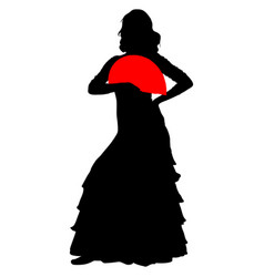 flamenco dancer with a red fan vector image
