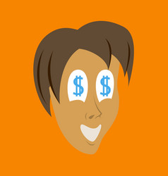 Flat icon on theme humor money in the eyes vector
