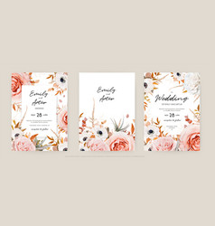 floral autumn wedding invite card template set vector image